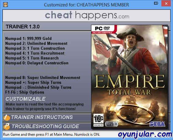 Empire: Total War: +11 Trainer трейнер скачать.