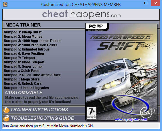 Need for Speed Shift trainer