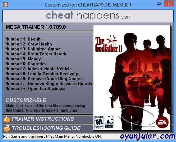 Cтраница содержит информацию об игре Крестный Отец Godfather The Game, чит
